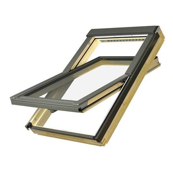 FAKRO okno dachowe drewniane obrotowe FTP-V U5 dwukomorowe z nawiewnikiem 78x140