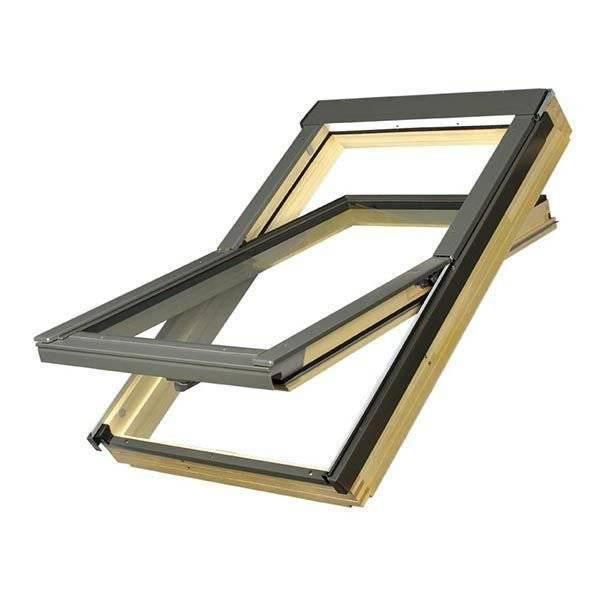 FAKRO okno dachowe drewniane obrotowe FTS-V U2 z nawiewnikiem 134x98