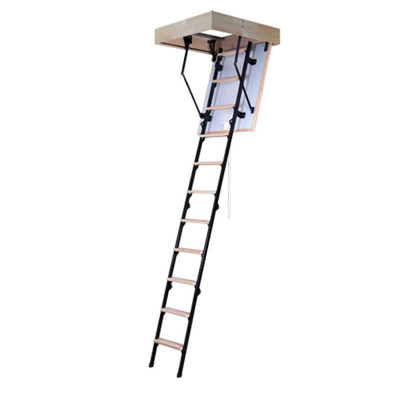 Schody strychowe Magnetic Step Micro z drewniano-metalową 4-sekcyjną drabinką
